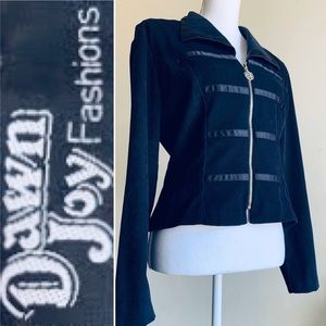 Vintage 90s Black Faux Suede Full Zip up Jacket